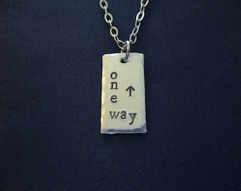 One Way Inspirational Hand Stamped Necklace - One Way To The Lord - Arrow Necklace - One Way Necklace - One Way Up Rectangle Necklace