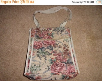 50% OFF Cotton floral bag great for books, wine, beach/pool 12 inch by 15 inch