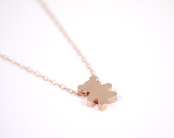 Rose Gold Bear Necklace, Gift for Her