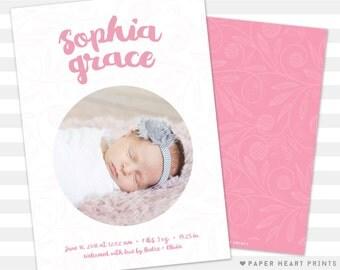 Baby Girl Birth Announcement - Unique Baby Announcement - Baby Girl Announcement, Custom Card - Photo Card - Sophia