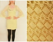 lace yellow dress from 70'  lace cotton Romantic universal summer party dress XS small wedding dress  retro dress old