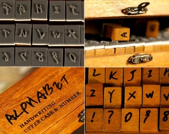 Alphabet & Number Handwriting Wooden Rubber Stamps Set of 42pc