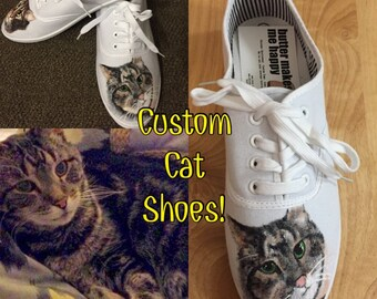 Custom Cat Shoes (pet portrait shoes)