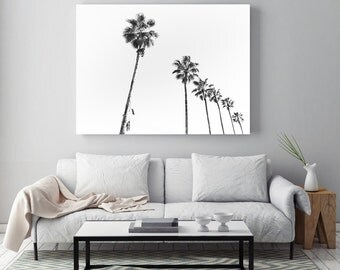 Palm trees, Beach photography, tropical, minimal print,, black and White, Stylish decor, Melbourne