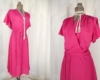 Vintage 1970s Dress - Bright Pink Wrap Dress, 70s Boho Dress XXL