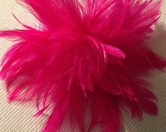 Pink feather fascinator hair clip accessory ostrich