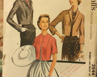 1955 Vintage Pattern for Cute Mid Century Jacket ~ McCall's 3544 Size 14 Bust 32