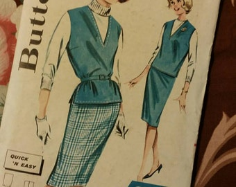 1960s Vintage Pattern Pencil Straight Sheath Skirt, Over-Shirt, Vest ~ One Yard Line Butterick 9873 Size 12 Bust 32
