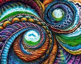 Inner Worlds - Paper Poster of Collaboration Painting by Morgan Mandala, Randal Roberts, and Sweet Melis - Visionary Psychedelic Art Print
