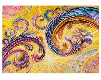 P. Sunrise Limited Edition (25) Print by Morgan Mandala and Randal Roberts - Archival Paisley Psychedelic Sunburst Art Paper Print