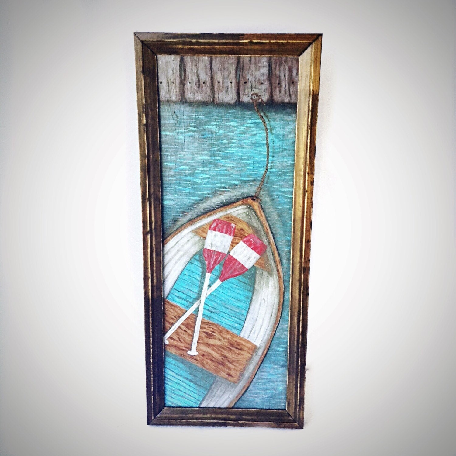 Nautical Wall Decor Oars: Large Nautical Wall Art Row Boat Wooden Oars Coastal