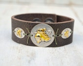 Leather Leaf Bracelet. Boho. Rustic . Rhinestone Soldered. Autumn Leaves .Bracelet. Boho .