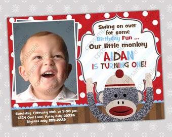 Sock Monkey Invitation - Sock Monkey Invite - Sock Monkey Birthday - Sock Monkey Party - Digital file