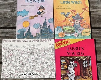 4 Marc Brown books Rabbit's New Rug, Little Witch's Big Night