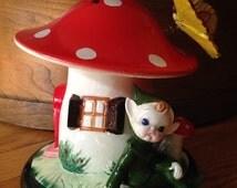 Toadstool Pixie Bank , Lefton Money Bank, Money bank, Elf, Mushroom, Butterfly, Gnome Fairy Garden Forest Christmas Gift Art