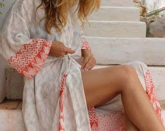Pearl & Flame Long Kimono Dressing Gown