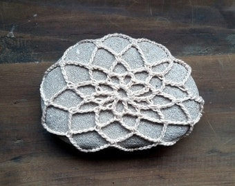 Crochet Stone, Lace Covered Beach Rocks, Pebbles, Handmade, Paperweight, Home Decor