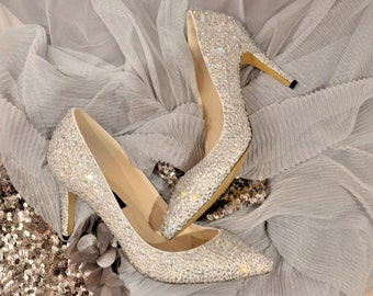 Swarovski Crystal White Silver Cinderella Glitter Bridal Mid Heel Stiletto Corset Luxury White Leather Court Pump
