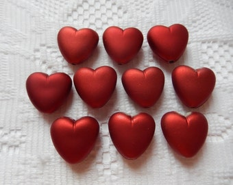 13  Rich Red Satin Matte Heart Acrylic Beads  18mm