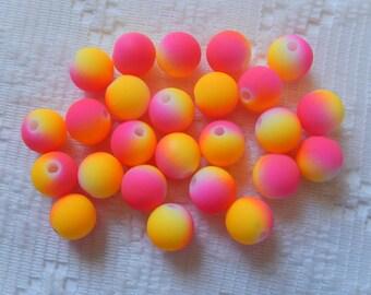 25  Bright Neon Hot Pink & Neon Yellow Orange Acrylic Round Beads  8mm