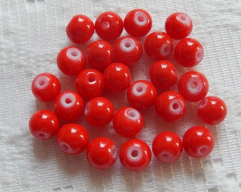 26  Bright Lipstick Red Opaque Round Glass Beads  6mm