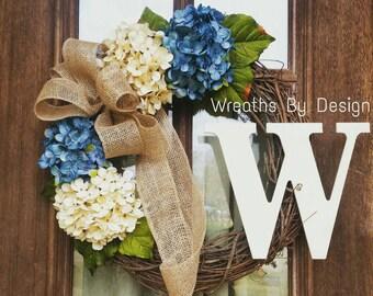 Monogram Wreath-Hydrangea Wreath-Wreaths-Burlap Bow-Front Door Wreath-Home Gift-Grapevine Wreath-Wreaths