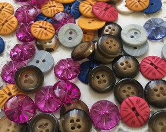 54 Mixed Buttons,bulk Mix colors and sizes,  bulk buttons, multi color buttons,  buttons, blue buttons, purple buttons, yellow buttons