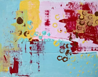 Original abstract acrylic paper ink ABSTRACT painting, fine art, white, blue, pink, red,turquoise  modern painting