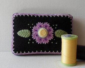 Handmade Mini Needle Cushion Black Felted Wool Lavender Floral Pincushion