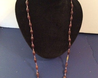 Wood beaded necklace 30 in