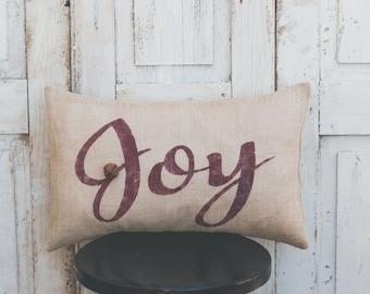 Joy pillow cover, Christmas pillow, lumbar pillow cover 12x20, burlap pillow cover, fabric pillow cover, jingle bells