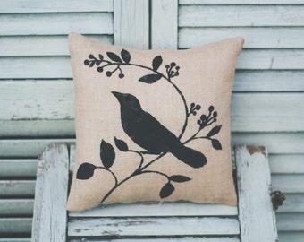 Bird with vine pillow, bird themeHome pillow, home decor pillow, home decor, burlap pillow, fabric pillow, burlap decor 12x12 square