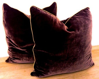 "Throw Silk Velvet Pillow Cover 18"" by 18"", Chocolate Brown With Beige Trimming"