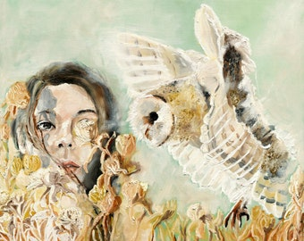 Friend - Owl Painting Art Print, Owl Wall Art, Floral Wall Art