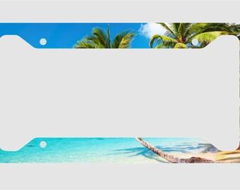 Paradise - Island - Palm trees - Ocean License Plate Frame