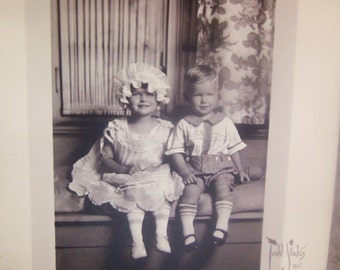 Vintage Black and White Photograph  Siblings  Antique Photography  B127