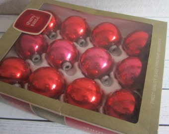 Mixed Box of Red and Pink Vintage Christmas Ornaments Vintage Shiny Brite Ornaments