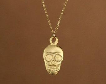 ON SALE Gold skull necklace - skull necklace - skeleton necklace - a 22k gold overlay Alexander McQueen inspired skull necklace