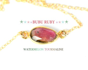 Tourmaline necklace - watermelon tourmaline - healing crystal - rainbow crystal - a gold vermeil bezel tourmaline on 14k gold vermeil chain