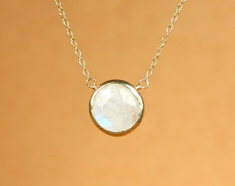 Rainbow moonstone necklace - june birthstone necklace - gold moonstone necklace - a gold bezel set moonstone on a 14k gold vermeil chain