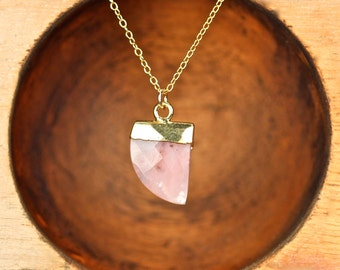 Rhodochrosite necklace - tusk necklace - spear necklace - arrowhead necklace - pink crystal - coachella necklace - RD4