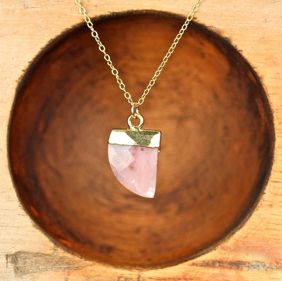 Rhodochrosite necklace - tusk necklace - spear necklace - arrowhead necklace - pink crystal - coachella necklace - RD4