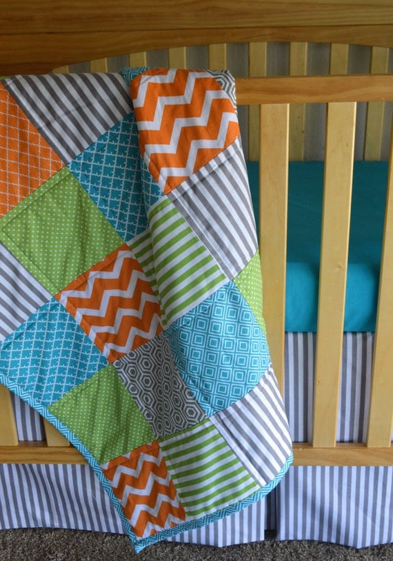Orange Green Teal and Gray Baby boy bedding 3 piece set
