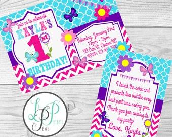 Butterfly Birthday Invitation, Spring Birthday Invitation, Girl's Party Invitation, 1st Birthday Invitation, Printable Girl's Invitation,