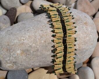 Handmade herringbone beaded bracelet