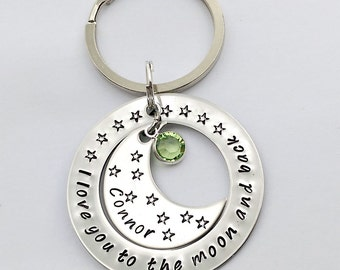 I love you to the moon and back personalised keyring - personalised gift for mum - gift for grandma - gift for nanny - birthday gift for her