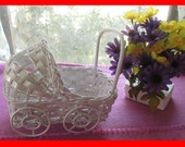 SALE!!  Small Vintage IRREGULAR Wicker Baby Buggy Carriage