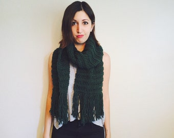 Oversized Ribbed Scarf - Forest Green