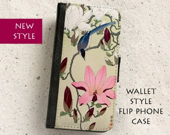 iPhone Case (all models) - Magpie and Magnolia - Vintage Japanese Painting - Wallet flip case -  Samsung Galaxy S4,S5,S6,S7,S8 & more