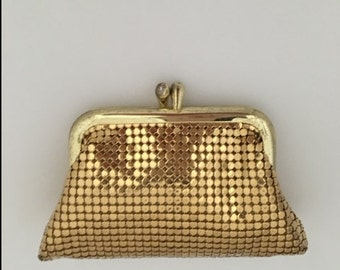 WHITING & DAVIS Mesh Change or Coin Purse - Goldtone Mesh - Original Box